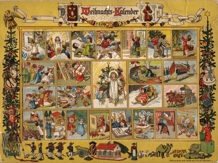 Weihnachtskalender um 1910, Im Land des Christkindes, Kunstdesign Ernst Kepler und Gerhard Lang